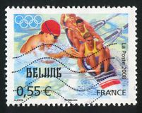 Olympic games. FRANCE - CIRCA 2008: stamp printed by France, shows Olympic games Beijing 2008, circa 2008 Royalty Free Stock Images