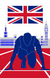 Olympic games London 2012. Runner in front of house of parliament Royalty Free Stock Photo