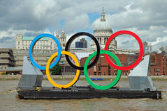 Olympic Games London. Olympic Rings on the river thames london during the 2012 games Stock Image