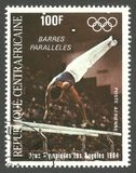 Olympic Games Los Angeles, Barres paralleles. Central African Republic - stamp printed 1984, Multicolor Air Mail issue, Topic Athletics, Series 1984 Olympic Stock Photo
