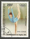 Olympic Games Los Angeles, Girls. Central African Republic - stamp printed 1984, Multicolor Air Mail issue, Topic Gymnastics, Series 1984 Olympic Games Los Royalty Free Stock Image
