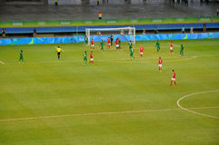 Olympic Games 2016. Nigeria's play against Denmark in the quarter-finals of the men's football event of the ongoing Rio 2016 Olympic Games Royalty Free Stock Image