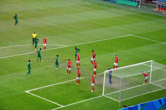 Olympic Games 2016. Nigeria's play against Denmark in the quarter-finals of the men's football event of the ongoing Rio 2016 Olympic Games Royalty Free Stock Images