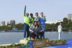 Olympic Games Rio 2016. Rio, Brazil. Aug 20, 2016. BRENDEL and VANDREY  (gold), SOUZA SILVA and QUEIROZ SANTOS (silver), IANCHUK and MISHCHUK, (bronze) during Royalty Free Stock Photo