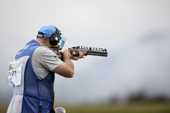 Olympic Games Rio 2016. Rio, Brazil - august 10, 2016: BROL Enrique GUA during Double Trap Men at Olympic Games 2016 in Olympic Shooting Centre, Deodoro stock photos