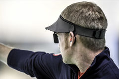Olympic Games Rio 2016. Rio, Brazil - august 10, 2016: BROWN Will USA during shooting 50m Pistol Men Shooting at Olympic Games 2016 in Olympic Shooting Centre stock photos