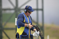 Olympic Games Rio 2016. Rio, Brazil - august 10, 2016: DAHLBY Hakan SWE during Double Trap Men at Olympic Games 2016 in Olympic Shooting Centre, Deodoro royalty free stock photos
