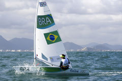 Olympic Games Rio 2016. Rio, Brazil - august 12, 2016: Fernanda DECNOP & x28;BRA& x29; in the Laser Women category during the Rio 2016 Olympic Games Sailing held Royalty Free Stock Photography