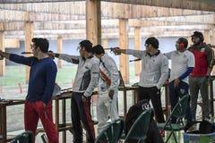 Olympic Games Rio 2016. Rio, Brazil - august 10, 2016: HAN Seungwoo KOR during shooting 50m Pistol Men Shooting at Olympic Games 2016 in Olympic Shooting Centre stock photography