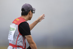 Olympic Games Rio 2016. Rio, Brazil - august 10, 2016: HU Binyuan CHN during Double Trap Men at Olympic Games 2016 in Olympic Shooting Centre, Deodoro stock image