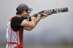 Olympic Games Rio 2016. Rio, Brazil - august 10, 2016: HU Binyuan CHN during Double Trap Men at Olympic Games 2016 in Olympic Shooting Centre, Deodoro stock photography