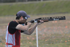 Olympic Games Rio 2016. Rio, Brazil - august 10, 2016: HU Binyuan CHN during Double Trap Men at Olympic Games 2016 in Olympic Shooting Centre, Deodoro royalty free stock images