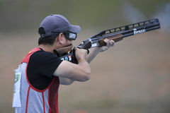 Olympic Games Rio 2016. Rio, Brazil - august 10, 2016: HU Binyuan CHN during Double Trap Men at Olympic Games 2016 in Olympic Shooting Centre, Deodoro stock images
