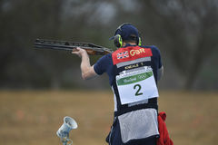 Olympic Games Rio 2016. Rio, Brazil - august 10, 2016: KNEALE Tim GBR during Double Trap Men at Olympic Games 2016 in Olympic Shooting Centre, Deodoro stock images
