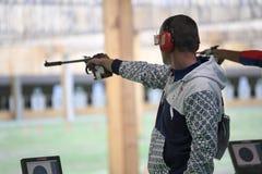 Olympic Games Rio 2016. Rio, Brazil - august 10, 2016: KOPP Pavol SVK during shooting 50m Pistol Men Shooting at Olympic Games 2016 in Olympic Shooting Centre stock photography
