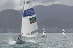 Olympic Games Rio 2016. Rio, Brazil - august 12, 2016: MARCIA Stefano Raffaele in the Laser Men category during the Rio 2016 Olympic Games Sailing held at Marina Royalty Free Stock Photos