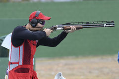Olympic Games Rio 2016. Rio, Brazil - august 10, 2016: PAN Qiang CHN during Double Trap Men at Olympic Games 2016 in Olympic Shooting Centre, Deodoro royalty free stock photo
