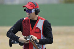 Olympic Games Rio 2016. Rio, Brazil - august 10, 2016: Qiang Pan CHN during Double Trap Men at Olympic Games 2016 in Olympic Shooting Centre, Deodoro royalty free stock photos