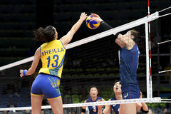 Olympic Games Rio 2016. Rio, Brazil - august 06, 2016: Sheilla CASTRO de PAULA BLASSIOLI (BRA) during volleyball game Brazil (BRA) vs Korea (KOR) in royalty free stock photo