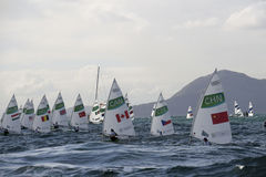 Olympic Games Rio 2016. Rio, Brazil - august 12, 2016: start in the Laser Women category during the Rio 2016 Olympic Games Sailing held at Marina da Gloria Royalty Free Stock Images