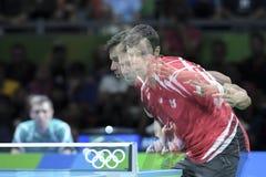 Olympic Games Rio 2016. Rio, Brazil, 11 august 2016: The table tennis player Vladimir SAMSONOV (BLR) when playing against Jun MIZUTANI (JPN)  during Olympic Stock Images