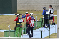 Olympic Games Rio 2016. Rio, Brazil - august 10, 2016: William Chetcuti MLT during Double Trap Men at Olympic Games 2016 in Olympic Shooting Centre, Deodoro stock photos