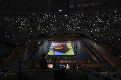 Olympic Games Rio 2016. Rio de Janeiro, Brazil - august 17, 2016: Court during Men´s Volleyball, match Brazil and Argentina in the Rio 2016 Olympics stock photo