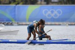 Olympic Games Rio 2016. Rio de Janeiro, Brazil. August 20, 2016. de SOUZA SILVA Erlon and QUEIROZ dos SANTOS Isaquias (BRA) during Men's Canoe Double 1000m final Royalty Free Stock Images