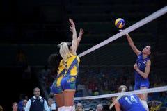 Olympic Games Rio 2016. Rio de Janeiro, Brazil - august 14, 2016: GONCHAROVA Nataliya (RUS) during volleyball game Brazil (BRA) vs Russia (RUS) in maracanazinho royalty free stock images