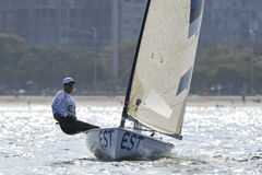 Olympic Games Rio 2016. Rio de Janeiro, Brazil - august 09, 2016: KARPAK Deniss EST during Finn class sailboats in the first regatta at the Gloria marina at the Royalty Free Stock Images
