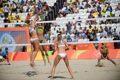 Olympic Games Rio 2016. Rio de Janeiro, Brazil - august 07, 2016:  Larissa/Talita BRA x Ukolova/Birlova RUS during beach volleyball game between Brazil and Stock Images