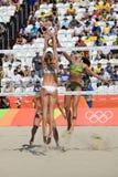 Olympic Games Rio 2016. Rio de Janeiro, Brazil - august 07, 2016:  Larissa/Talita BRA x Ukolova/Birlova RUS during beach volleyball game between Brazil and Royalty Free Stock Photos