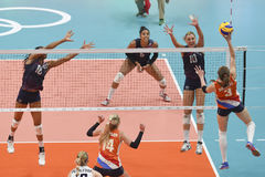 Olympic Games Rio 2016. Rio de Janeiro, Brazil - august 20, 2016: LARSON-BURBACH Jordan (USA) during women's Volleyball,match Nederland and USA in the Rio 2016 stock photography
