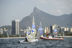 Olympic Games Rio 2016. Rio de Janeiro, Brazil - august 09, 2016: LILLEY Jake AUS during Finn class sailboats in the regatta in the Gloria marina at the Rio 2016 Stock Images