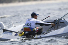 Olympic Games Rio 2016. Rio de Janeiro, Brazil - august 09, 2016: PAINE Caleb USA during Finn class sailboats in the first regatta at the Gloria marina at the Stock Image