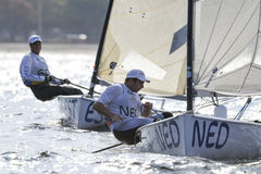Olympic Games Rio 2016. Rio de Janeiro, Brazil - august 09, 2016: POSTMA Pieter-Jan NED during Finn class sailboats in the first regatta at the Gloria marina at Stock Images