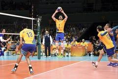 Olympic Games Rio 2016. Rio de Janeiro, Brazil - august 15, 2016: REZENDE Bruno Mossa (C) (BRA) during Menss volleyball game Brazil (BRA) vs France (FRA) in stock image