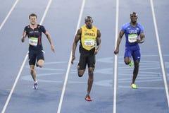 Olympic Games Rio 2016. Rio de Janeiro, Brazil - august 18, 2016: Runner Usain Bolt (JAM) during 800m Men's run in the Rio 2016 Olympics royalty free stock photography