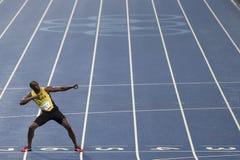 Olympic Games Rio 2016. Rio de Janeiro, Brazil - august 18, 2016: Runner Usain Bolt (JAM) during 800m Men's run in the Rio 2016 Olympics stock photos