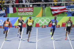 Olympic Games Rio 2016. Rio de Janeiro, Brazil - august 18, 2016: Runner Usain Bolt (JAM) during 800m Men's run in the Rio 2016 Olympics stock photography