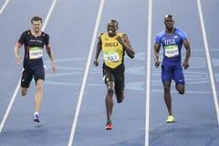 Olympic Games Rio 2016. Rio de Janeiro, Brazil - august 18, 2016: Runner Usain Bolt (JAM) during 800m Men's run in the Rio 2016 Olympics stock image