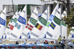 Olympic Games Rio 2016. Rio de Janeiro, Brazil - august 09, 2016: Sailboats on marine during Laser Radial Women class sailboats at the Gloria marina at the Rio Royalty Free Stock Images