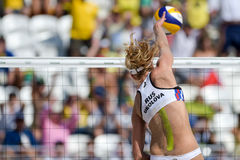 Olympic Games Rio 2016. Rio de Janeiro, Brazil - august 07, 2016:  Ukolova during beach volleyball game between Brazil and Russia in the Rio 2016 Olympics at the Royalty Free Stock Photos