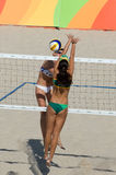 Olympic Games Rio 2016. Rio de Janeiro, Brazil - august 07, 2016:  Ukolova during beach volleyball game between Brazil and Russia in the Rio 2016 Olympics at the Royalty Free Stock Photography