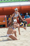Olympic Games Rio 2016. Rio de Janeiro, Brazil - august 07, 2016:  Ukolova/Birlova RUS during beach volleyball game between Brazil and Russia in the Rio 2016 Royalty Free Stock Images