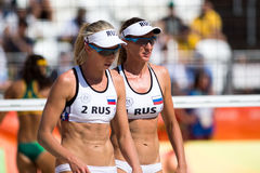 Olympic Games Rio 2016. Rio de Janeiro, Brazil - august 07, 2016:  Ukolova/Birlova RUS during beach volleyball game between Brazil and Russia in the Rio 2016 Royalty Free Stock Photography