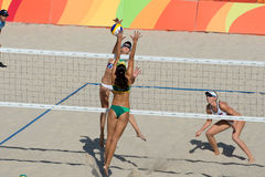 Olympic Games Rio 2016. Rio de Janeiro, Brazil - august 07, 2016:  Ukolova/Birlova RUS during beach volleyball game between Brazil and Russia in the Rio 2016 Stock Images
