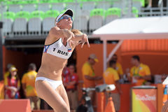Olympic Games Rio 2016. Rio de Janeiro, Brazil - august 07, 2016:  Ukolova RUS during beach volleyball game between Brazil and Russia in the Rio 2016 Olympics at Stock Photography