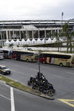 Olympic Games. Rio de Janeiro, Brazil - july 17, 2016:  Simulation arrival and bus departure in Maracanã, north of the city, as will occur at the opening Stock Images