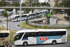 Olympic Games. Rio de Janeiro, Brazil - july 17, 2016:  Simulation arrival and bus departure in Maracanã, north of the city, as will occur at the opening Royalty Free Stock Image